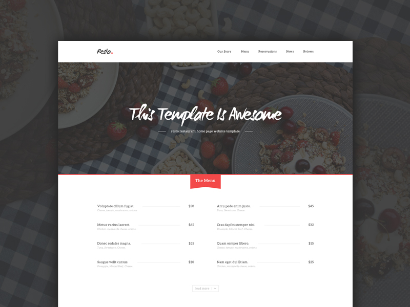 Resto Restaurant Home Page by pixel hint in 50个精彩的8月出炉的免费设计资源