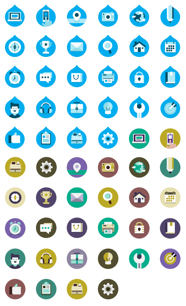 Drupalize.Me Free Icon Package by Justin Harrell in 30个给网页设计师准备的扁平化图标套装免费下载