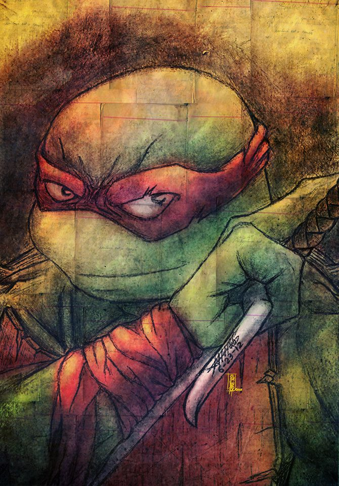 TMNT - Raphael Headshot, Colors by NinjaTertel in 忍者神龟插画艺术品展示