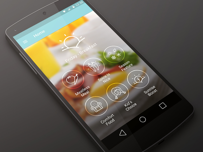 Cookspiration App for Android L by Jordan Ouellette in 36个移动APP界面设计灵感欣赏(IOS8风格)