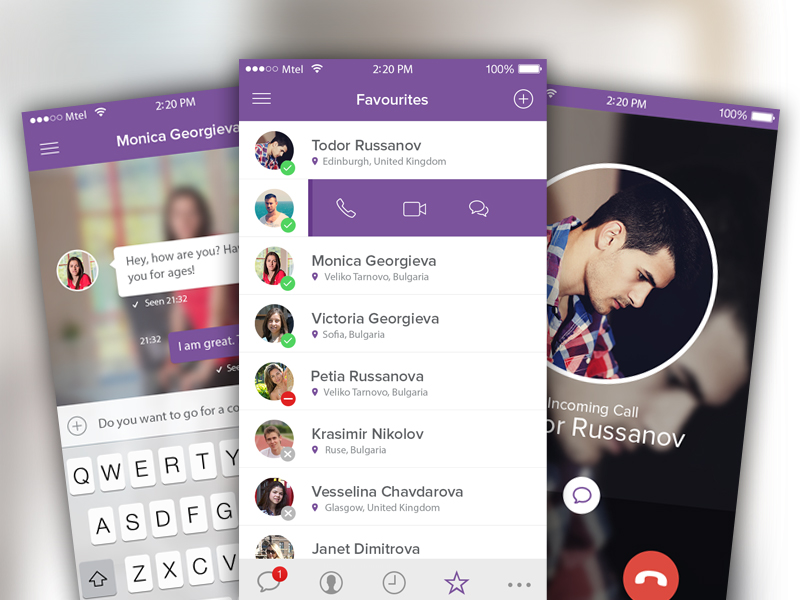 Viber iOS8 Concept by Todor Russanov in 36个移动APP界面设计灵感欣赏(IOS8风格)
