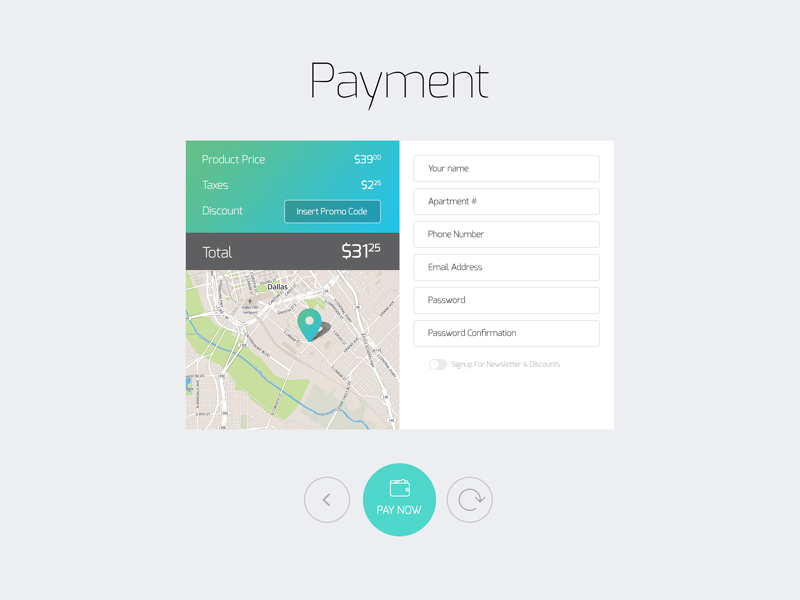 Payment Input Form by Fuxxo Works in 50个精彩的8月出炉的免费设计资源