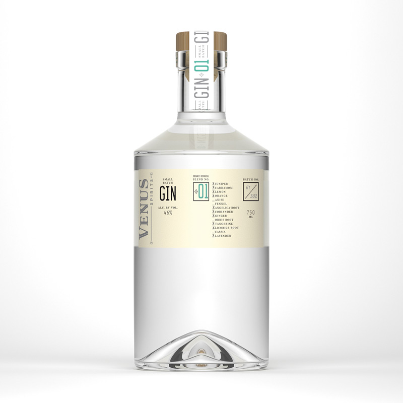 Venus Spirits Small Batch Gin by Chen Design Associates in2014年8月最新的包装设计灵感欣赏