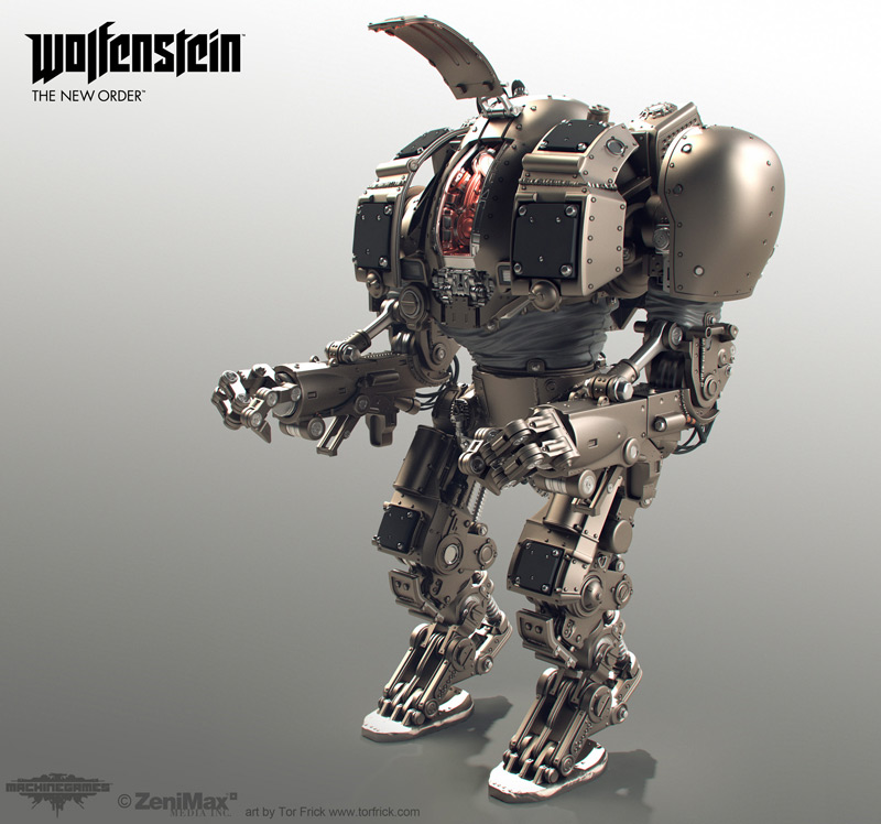 Wolfenstein: The New Order highpoly robots, Tor Frick in  25个令人难以置信的3D机器人设计欣赏