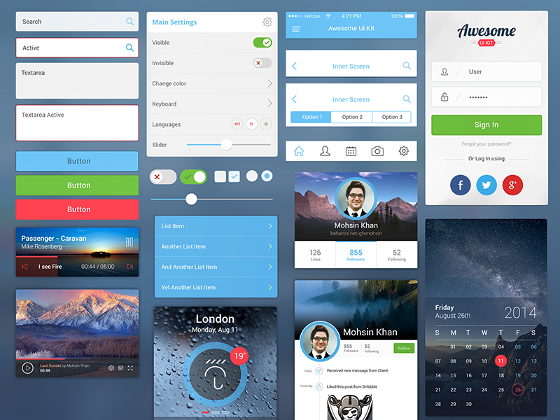 Awesome UI Kit for Mobile by Mohsin Khan in 9月的扁平化手机APP UI工具包套装PSD文件下载