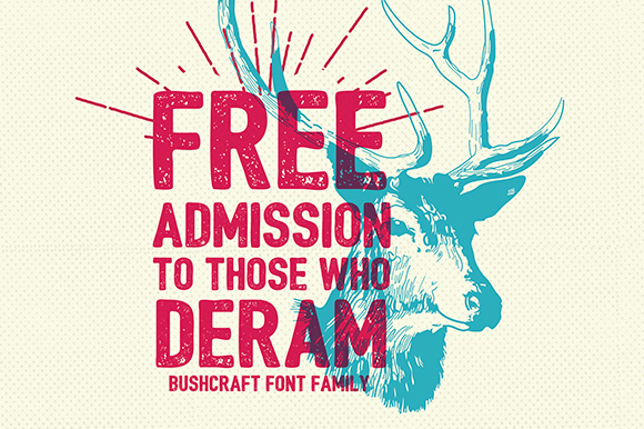 Bushcraft Free Font Family by Bowery Studio design in 2014年几月必备的17个免费设计字体下载
