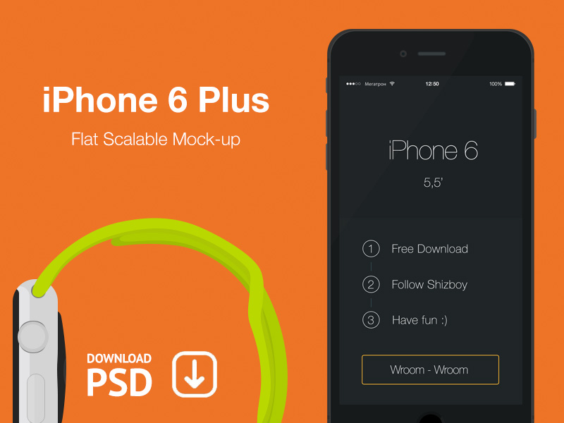 iPhone 6 Plus - Free Psd Flat Mockup by Alexander Kutuzov in 35个新鲜的iPhone6展示模型PSD下载