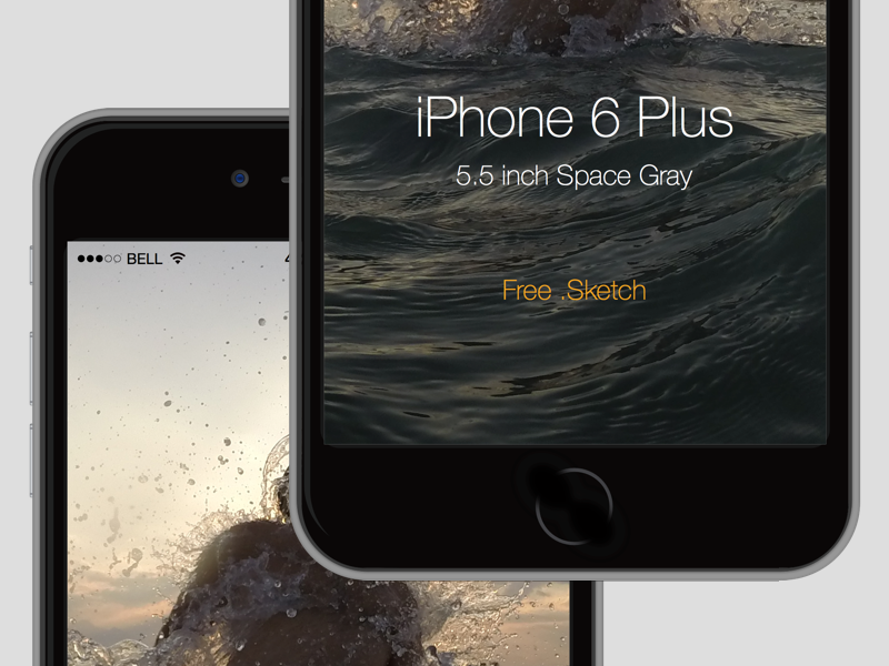 iPhone 6 Plus mock up free .sketch by serhat ozirik in 35个新鲜的iPhone6展示模型PSD下载