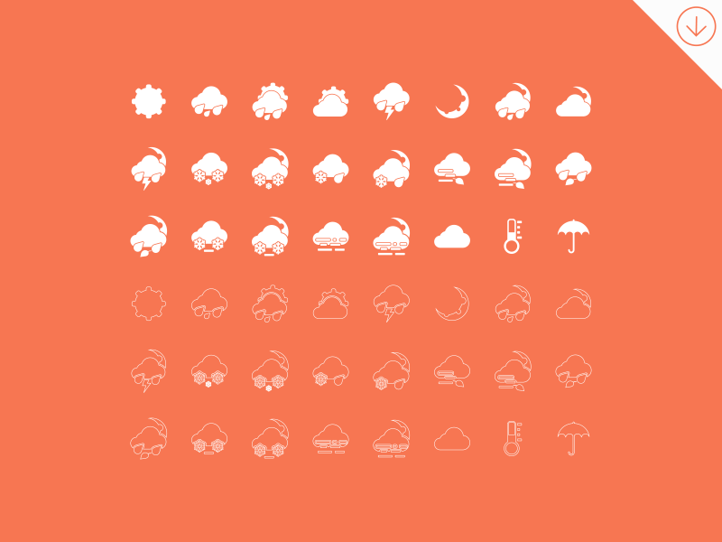 Simple Weather Icons by GraphBerry in 2014年9月的免费扁平化图标套装合集下载