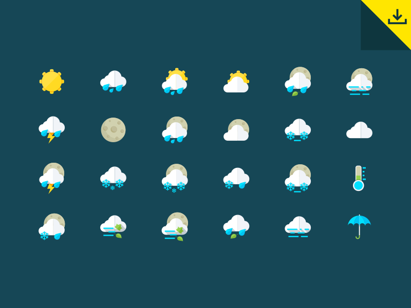 Weather Icons by GraphBerry in 2014年8月份汇总的25个免费的扁平化图标套装下载