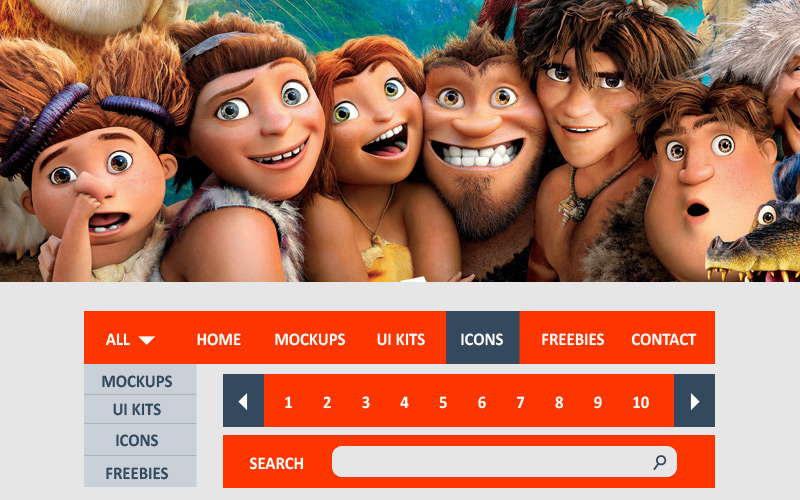 Free Croods UI Kit For Web & Graphic Designers 2014 by Ess Kay in 9月的扁平化手机APP UI工具包套装PSD文件下载