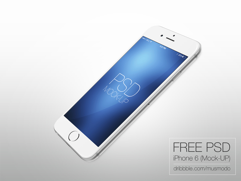 IPhone 6 (free mock-up) by musmodo in 35个新鲜的iPhone6展示模型PSD下载