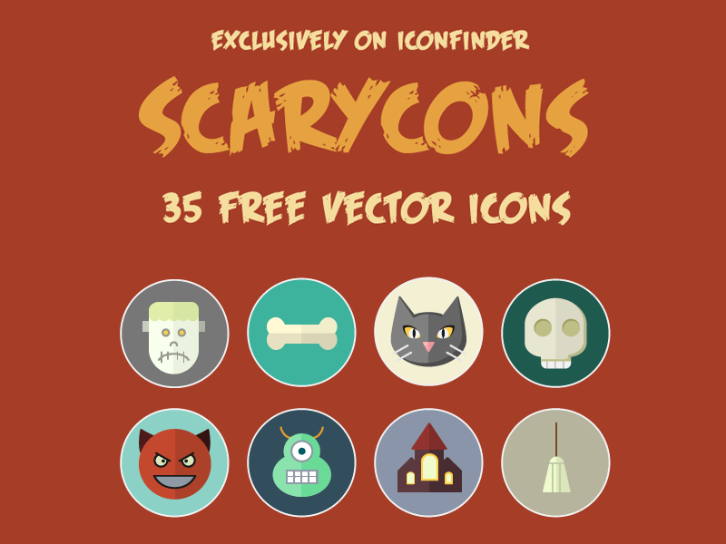 Free halloween color icons by Icons Mind in 2014年10月的28个免费扁平化图标合集