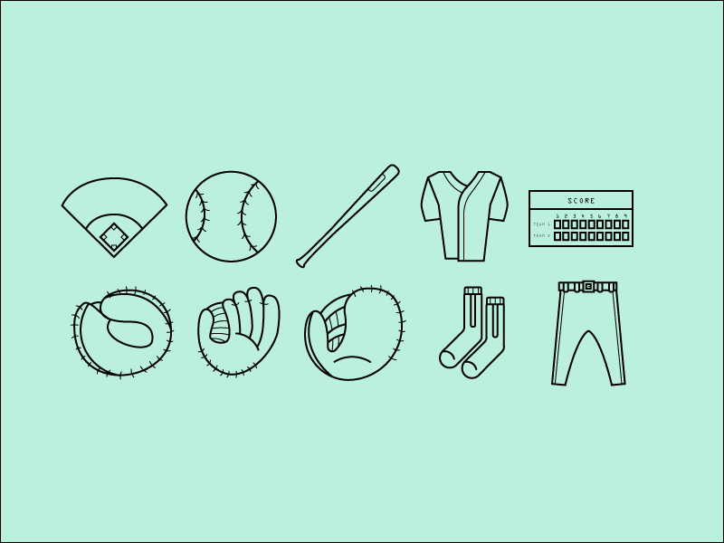 Baseball Icons by Grant Fisher in 23个免费的扁平化图标下载(带IOS8图标)