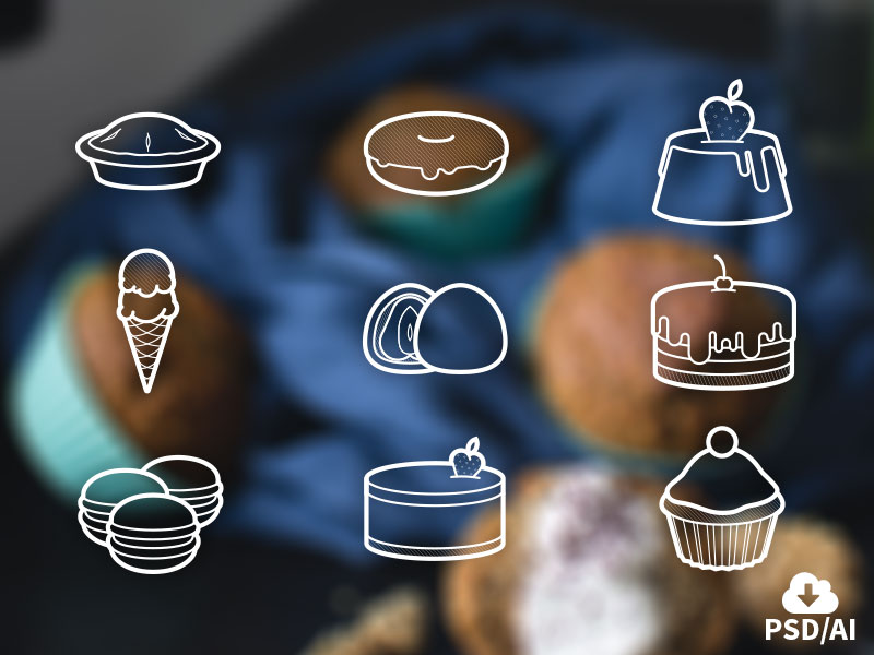 Free Set of Sweets Icons by Oxygenna in 23个免费的扁平化图标下载(带IOS8图标)
