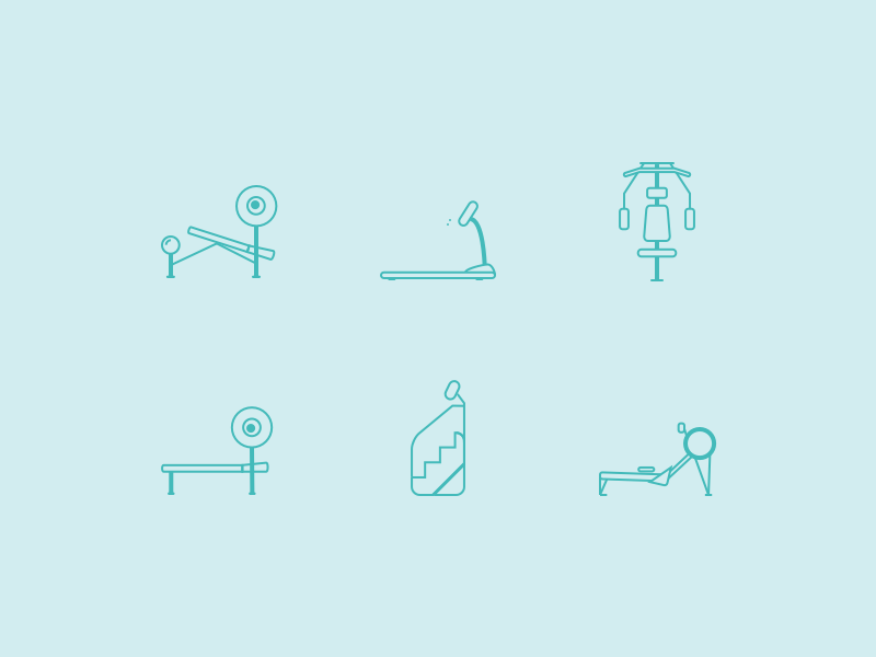 Workout Icons by Liam Shalon in 2014年10月的28个免费扁平化图标合集