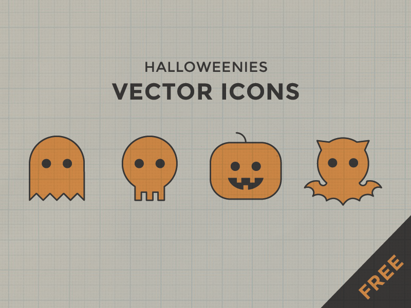 Halloweenies: free icons by Arielle Weiler in 2014年10月的28个免费扁平化图标合集