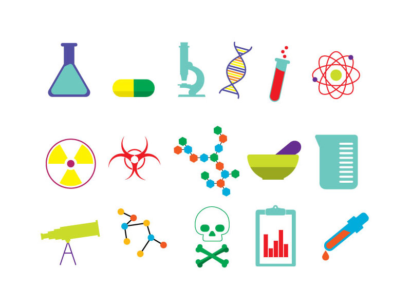 15 Free Vector Science Icons by James George in 2014年10月的28个免费扁平化图标合集