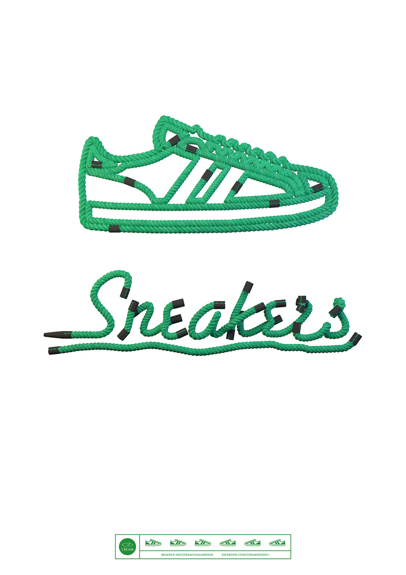 Sneakers Typography by Wes L Cockx in 时尚有创意的字体设计灵感分享