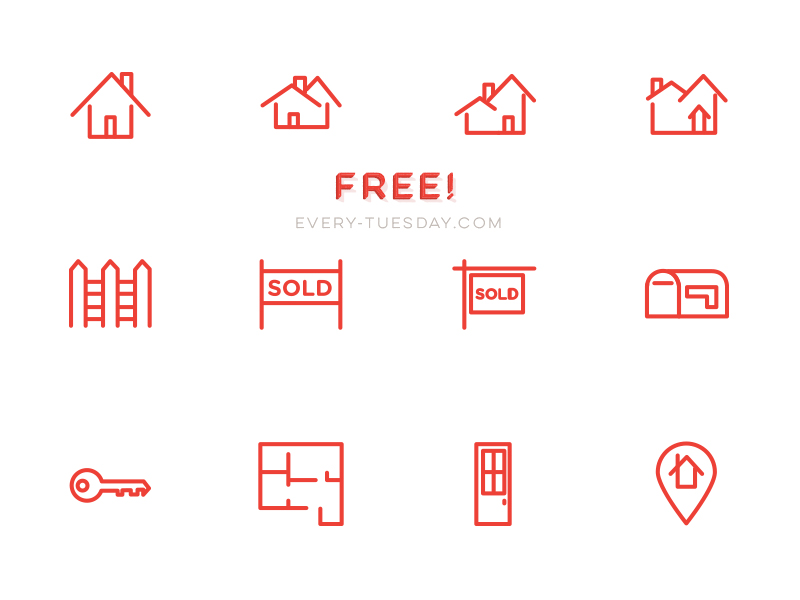 Free Real Estate Vector Icon Set by Teela Cunningham in 23个免费的扁平化图标下载(带IOS8图标)