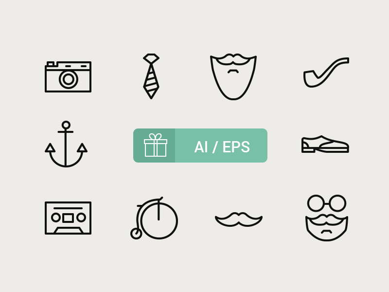 Free Hipster Icons by Icons Mind in 23个免费的扁平化图标下载(带IOS8图标)