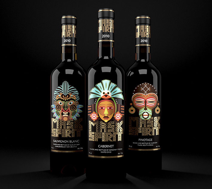Mask Spirit: Collection of New World Wines in 2014年10月最新的包装设计灵感欣赏