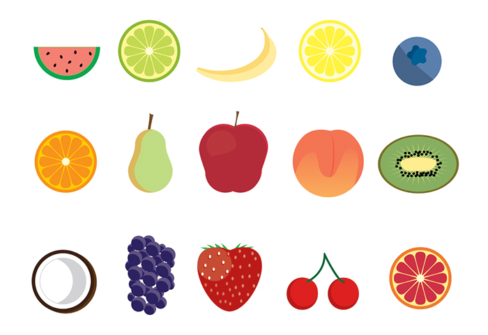 15 Free Fruit Icons by James George in 23个免费的扁平化图标下载(带IOS8图标)