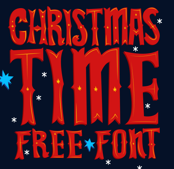 Christmas Time Free Font by Lukasz KuIakowski in 20个2014年10月整理的最新时尚设计字体下载