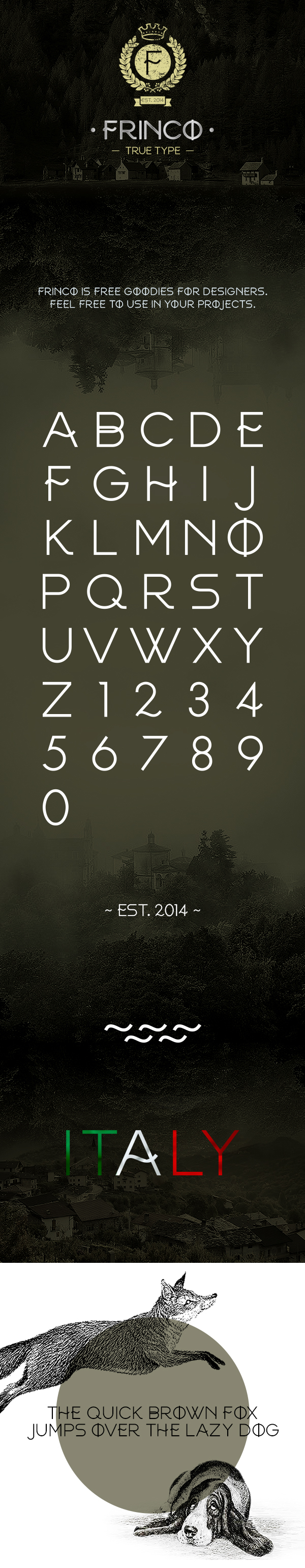 FRINCO by Free Font by Ryan Pyae in 20个2014年10月整理的最新时尚设计字体下载