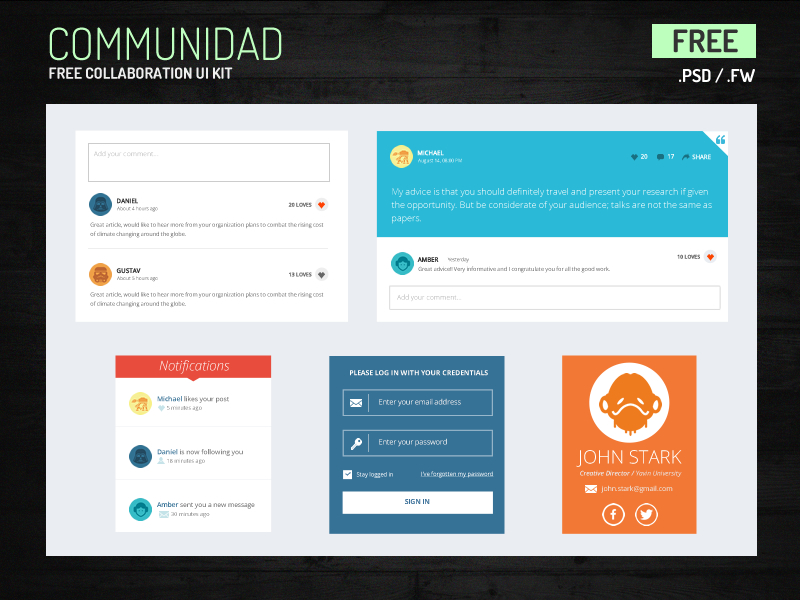 Free PSD UI Kit for Collaboration by Wilson S in2014年11月最新的手机app界面ui套装psd下载