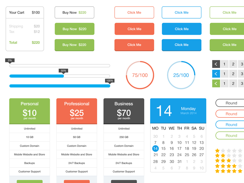 Free Flat UI Kit by Johnny J. in2014年11月最新的手机app界面ui套装psd下载