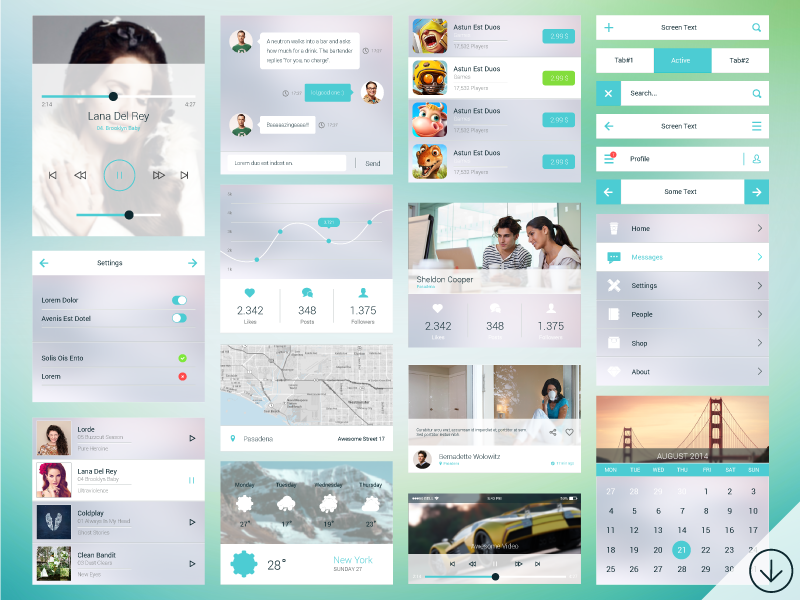 PSD Mobile Ui Kit by GraphBerry in2014年11月最新的手机app界面ui套装psd下载