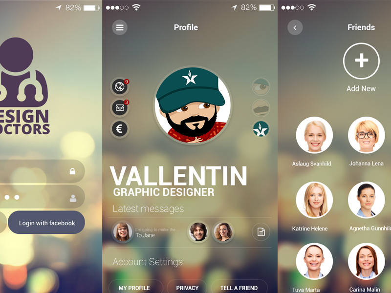 Social UI App PSD - Design Doctors by Graphics Bay Team in2014年11月最新的手机app界面ui套装psd下载