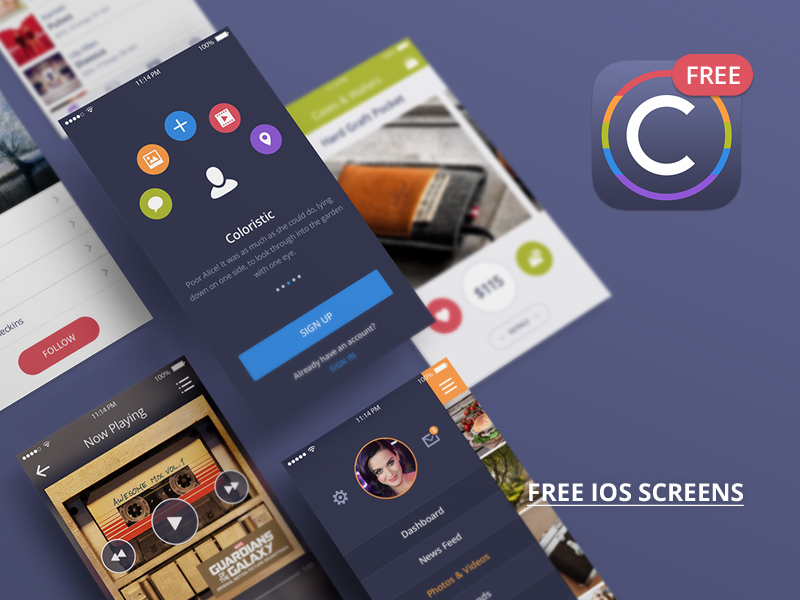 Coloristic UI Kit Free by PixelBuddha in2014年11月最新的手机app界面ui套装psd下载