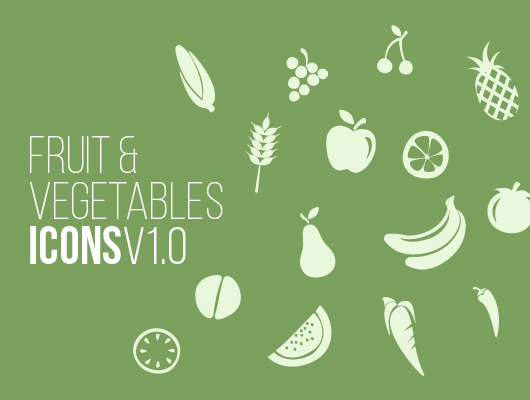 Free Fruits & Vegetables Icon Set by Wassim in 2014年11月的22个免费扁平化图标合集