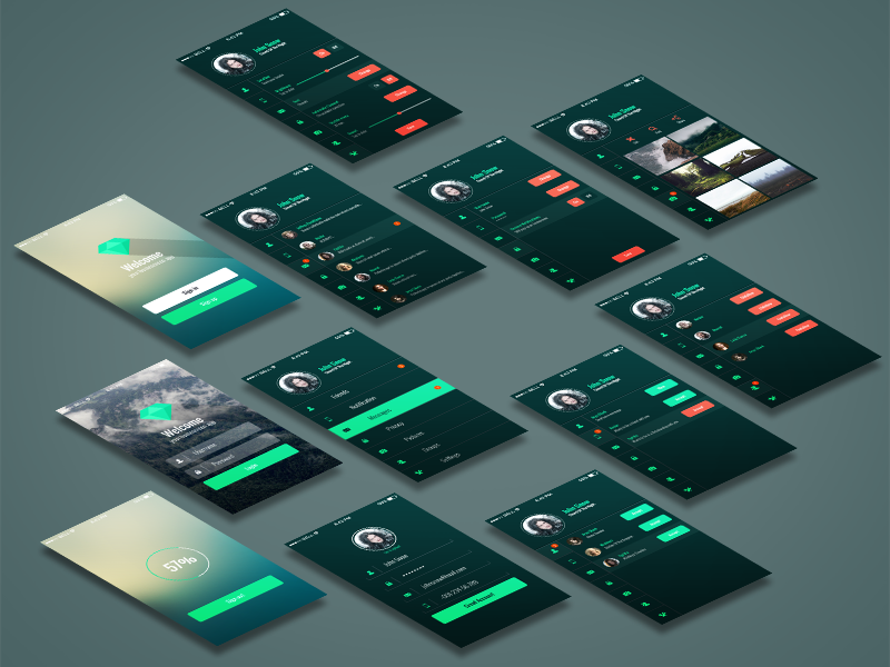 Mobile App UI Kit by GraphBerry in2014年11月最新的手机app界面ui套装psd下载