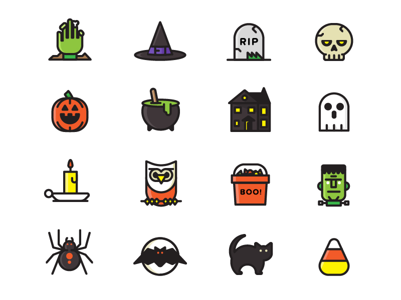 Free Halloween Icon Set by Justin Harrell in 2014年11月的22个免费扁平化图标合集
