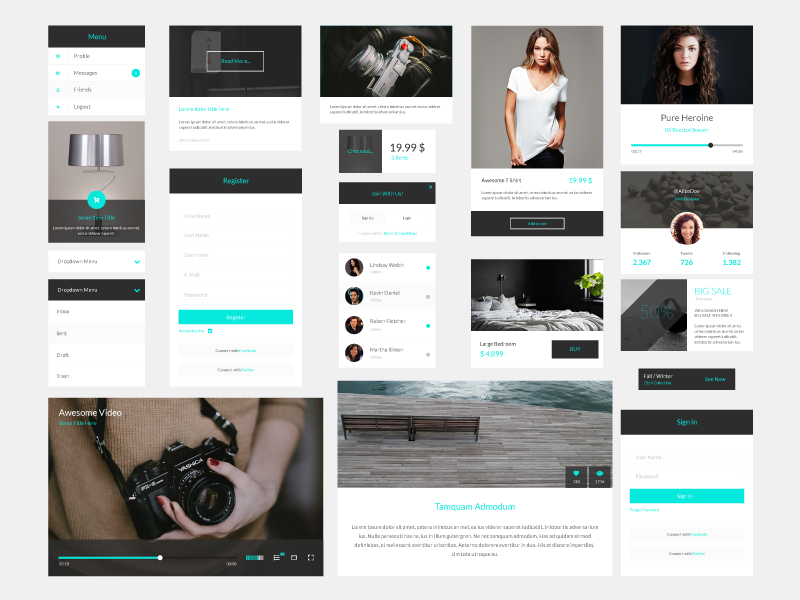 Sven,Modern PSD Ui Kit by GraphBerry in2014年11月最新的手机app界面ui套装psd下载