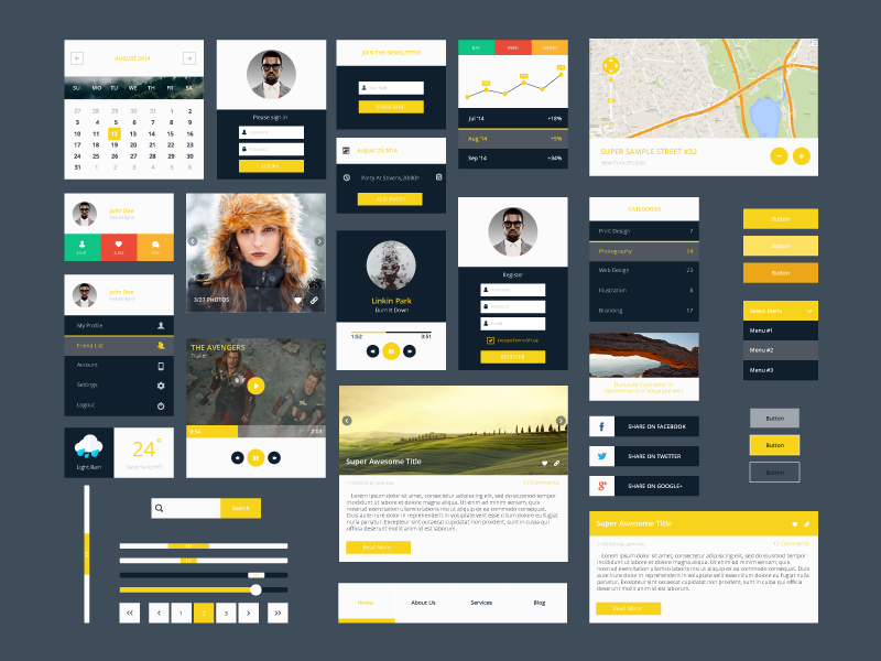 Modern Flat PSD Ui Kit by GraphBerry in2014年11月最新的手机app界面ui套装psd下载