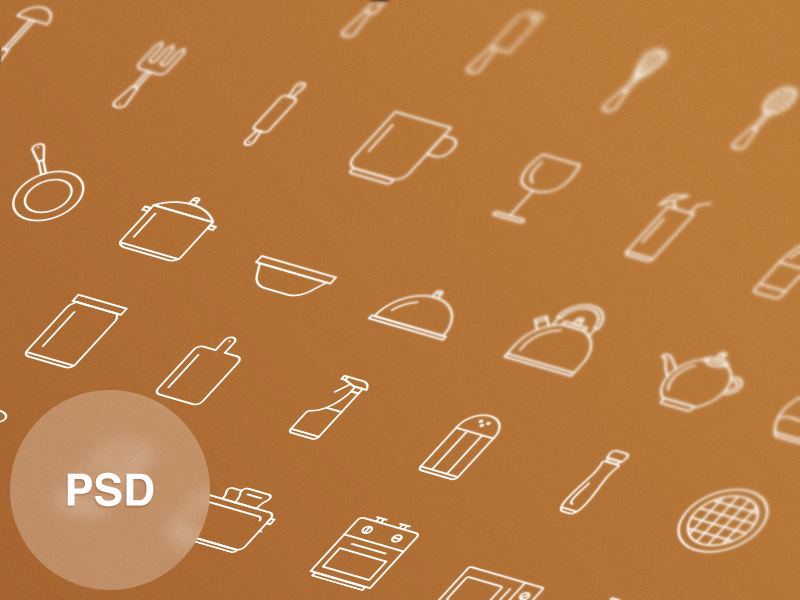 Free Kitchen Tools Icon Set by Vitaly Rubtsov in 2014年11月的22个免费扁平化图标合集