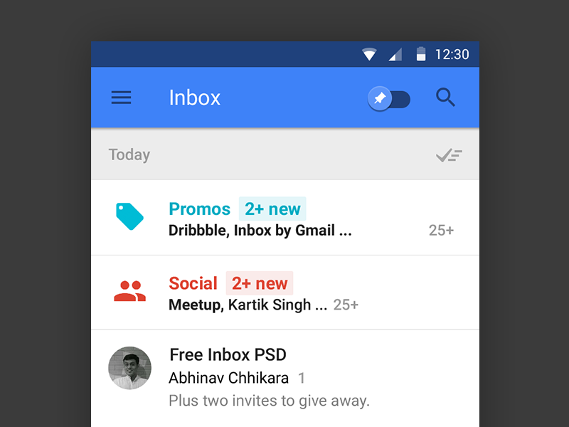 Google Inbox PSD by Abhinav Chhikara in2014年11月最新的手机app界面ui套装psd下载