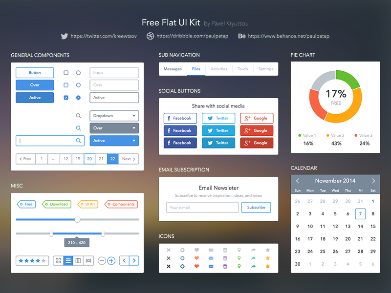Free Flat UI Kit by Pavel Kreewtsov in2014年11月最新的手机app界面ui套装psd下载