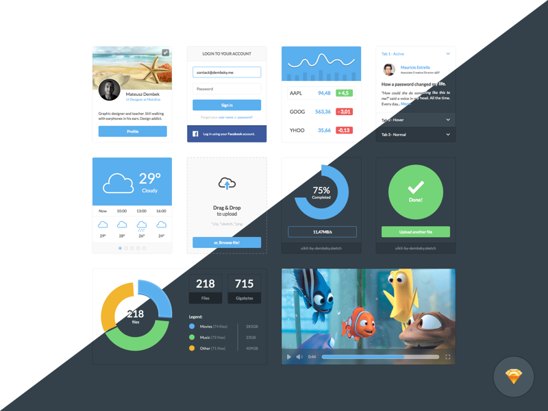 Dark and Light Ui Kit by Mateusz Dembek in2014年11月最新的手机app界面ui套装psd下载