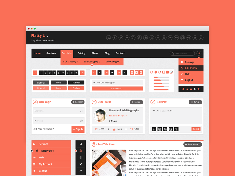 Flatty UI Free PSD Kit by Mahmoud Adel Baghagho in 2014年12月新出炉的ui套装源文件下载