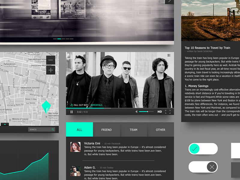 Black & Turquoise Ui Kit by NAS in 2014年12月新出炉的ui套装源文件下载