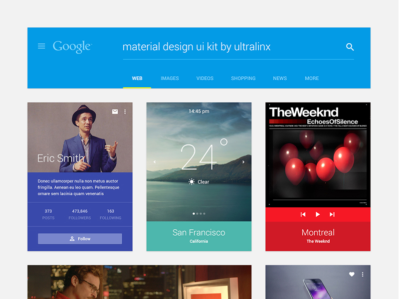 Material Design UI Kit PSD by UltraLinx in 2014年12月新出炉的ui套装源文件下载