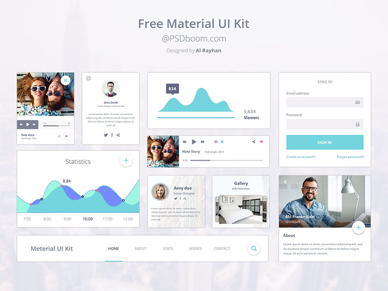 Material Design Ui Kit Design by Al Rayhan in 2014年12月新出炉的ui套装源文件下载