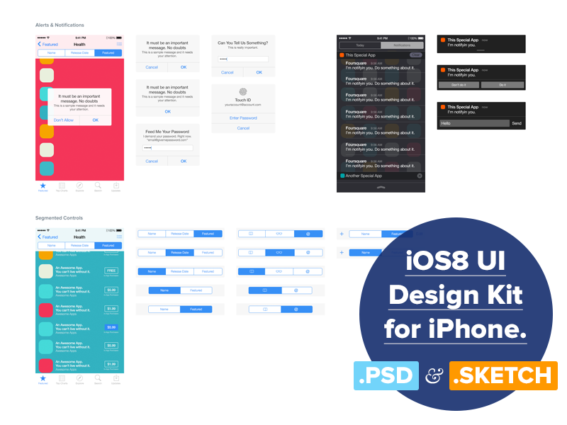 iOS 8 UI Design Kit for Free by Adam Zielonko in 2014年12月新出炉的ui套装源文件下载