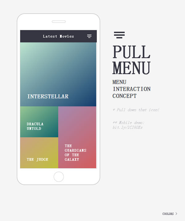 利用html5和JavaScript实现手机端滑动菜单的交互概念CodePen Pull-Menu Menu-Interaction-Concept