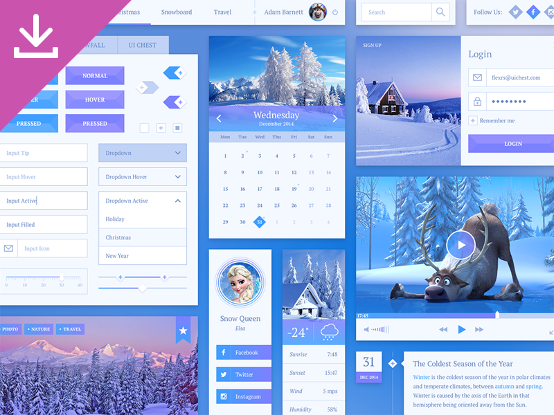 Snowflake UI Kit by Sergey Azovskiy in 2014年12月新出炉的ui套装源文件下载